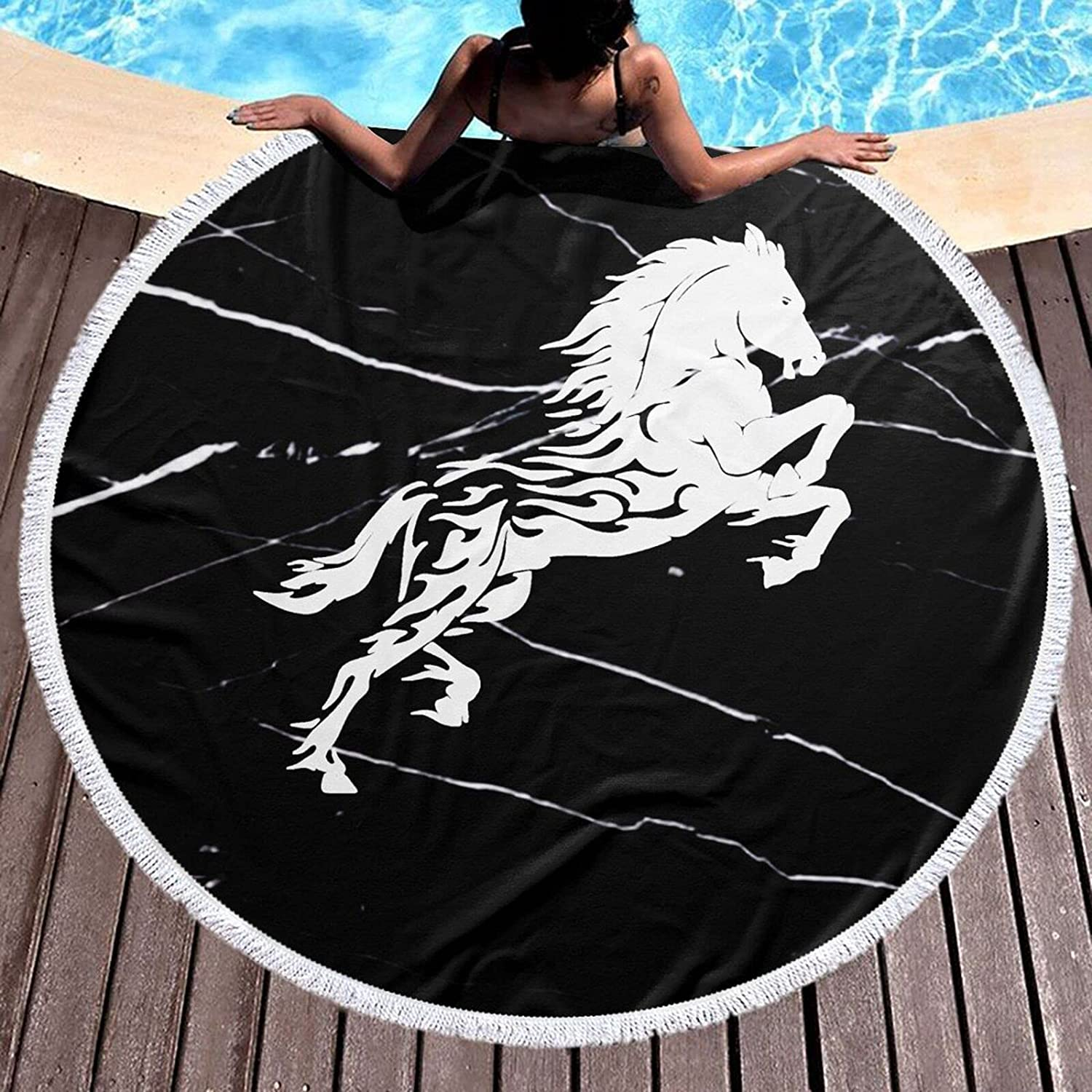 Horse Great interest Round Beach Towel 59 Blanket Tablecloth Inch Cotton Picnic Many popular brands