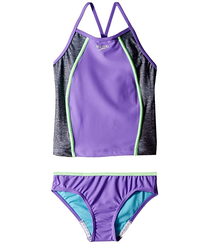 Speedo Kids  Heather Splice Tankini Two-Piece (Big Kids) (Lavender Purple) Girls Swimwear Sets