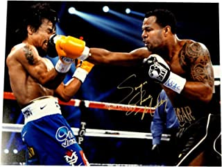 Autographed Manny Pacquiao Photograph - Sugar Shane Mosley 16x20 VS Punch Gold Ink - Autographed Boxing Photos