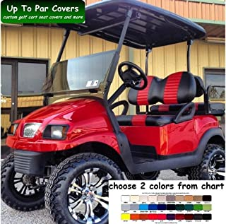 Club Car Precedent Custom Golf Cart Front Seat Cover Set PLUS Rear Seat Cover Set Combo - TWO STRIPE STAPLE ON