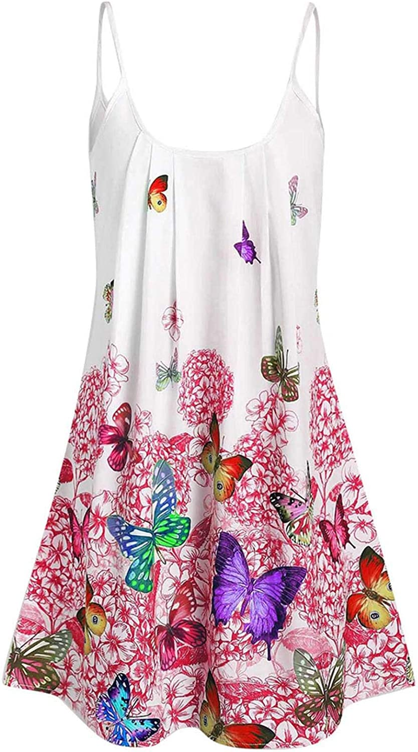 NREALY Blusa Womens Summer Casual Plus Size Asymmetrical Butterfly Print Tank Top Blouse