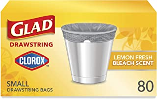 Glad Small Drawstring Trash Bags with Clorox, 4 Gallon Grey Trash Bags, Lemon Fresh Bleach Scent, 80 Count (Package May Vary)