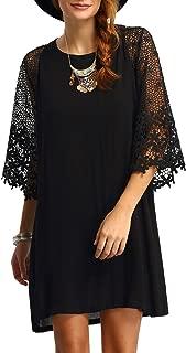 Jollymda Women's Casual Crewneck Half Sleeve Summer Chiffon Tunic Dress