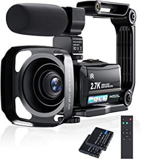 ビデオカメラ Rosdeca 2.7k HDR 36MP デジタルビデオカメラ ズーム16倍 ウェブカメラ機能 最大128GB対応 IR赤外線暗視機能 デジタル補正 270度回転画面3.0インチタッチモニター 外部マイク 予備バッテリーあり 安...