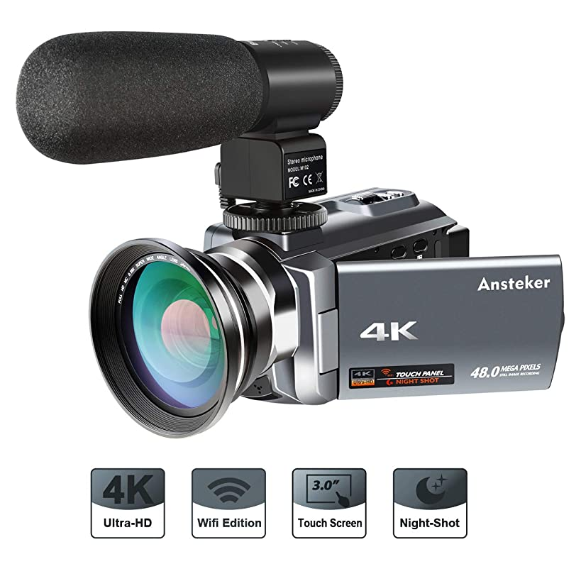 4K Camcorder,Ansteker 48MP 30FPS Ultra HD WiFi Video Camera IR Night Vision Camera Camcorder Portable Digital Camcorder with External Microphone and Wide Angle Lens(3'' Touch Screen)