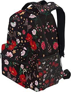 KVMV Dark Retro Blooming Flowers Night Insectbeesbutterflyladybug Lightweight School Backpack Students College Bag Travel Hiking Camping Bags