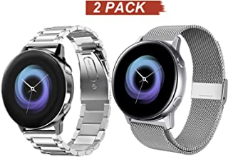 Acestar Compatible Samsung Galaxy Watch Active 2 40mm/44mm Bands, 20mm Stainless Steel Metal Band+ Mesh Strap Bracelet Replacement for Samsung Galaxy Watch Active 2 (Sliver)