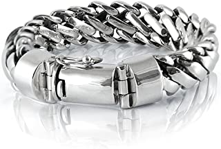 925 Sterling Silver Heavy Round Snake Men Bracelet - Made in Thailand