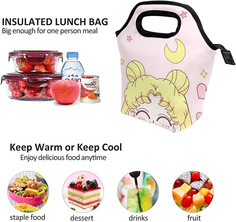 Lunch Bag Sailor Moon Smile Insulated Lunch Tote Boxes Cooler Bag For Adults Men Women Kids Boys Nurses Teens