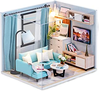 CUTEBEE Dollhouse Miniature with Furniture, DIY Dollhouse Kit Plus Dust Proof and Music Movement, 1:24 Scale Creative Room...