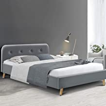 Queen Bed Frame, Artiss Fabric Upholstered Bed Frame Base, Grey