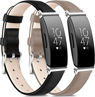 [2 Pack] Leather Bands Compatible with Fitbit Inspire HR Bands for Women Men, Replacement Leather Bands for Fitbit Inspire...