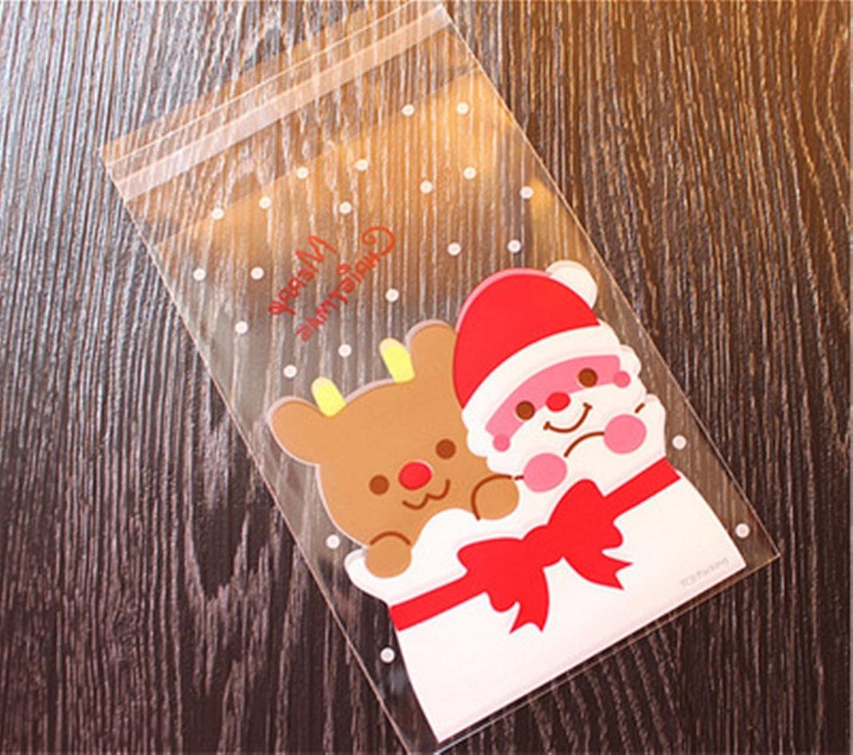 対第三弱まるDoitsa 100個 ビニール袋 ギフトバッグ ポリ袋 自己接着 トナカイ サンタ キャンディ ビスケット クッキー お菓子 パッケージバッグ クリスマス 可愛い ギフト プレゼント