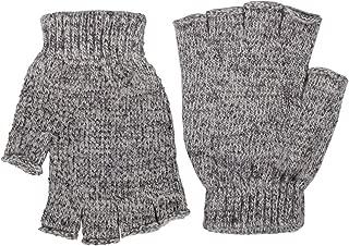 Tan Men's Ragg Wool Fingerless Gloves w/Rubber Palm Grips – Winter Insulation