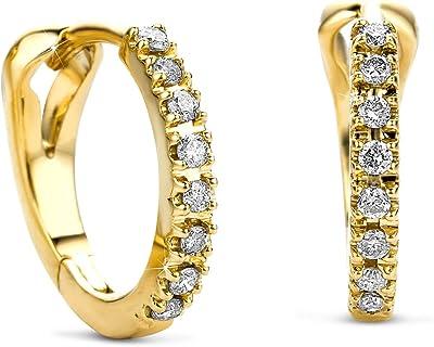 Orovi, orecchini a cerchio da donna in oro giallo 14 carati (585), con brillanti 0,10 ct