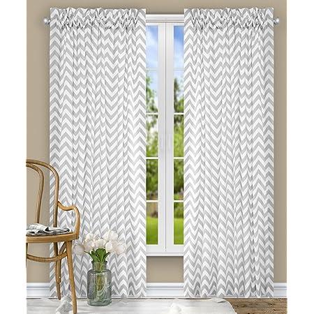 Ellis Curtain Reston Chevron Stripe Tailored Panel Curtain 50 X 63 Sterling Home Kitchen