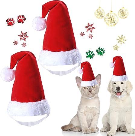 2 Pieces Pet Christmas Santa Hat 3D Santa Claus Cap Adjustable Christmas Hat Xmas Headgear Cute Head Accessories for Dogs and Cats