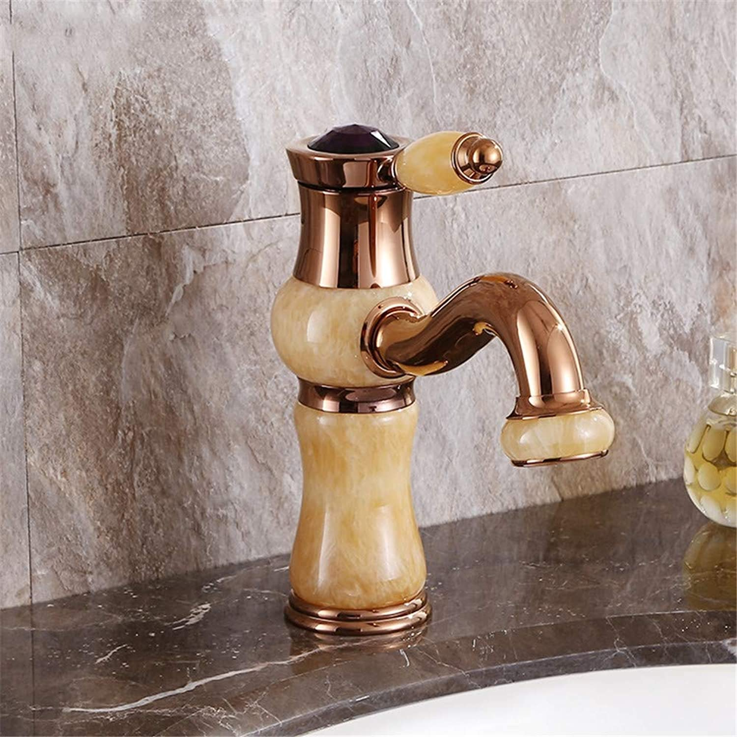 PajCzh Taps Taps Faucet Faucet Sink Bathroom Sink Taps pink gold Jade Lavatory Faucet European Antique Copper Hot And Cold Wash Basin Faucet