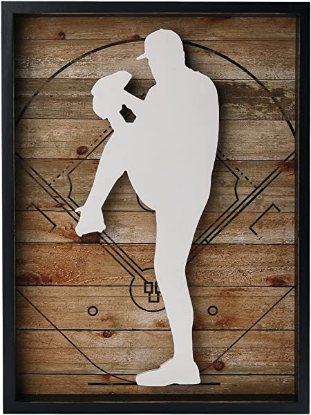 NIKKY HOME 12 X 16 Baseball Pitcher Wooden Framed Wall Art