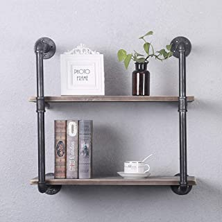 GWH Industrial Pipe Shelving Wall Mounted,24in Rustic Metal Floating Shelves,Steampunk Real Wood Book Shelves,Wall Shelf Unit Bookshelf Hanging Wall Shelves,Farmhouse Kitchen Bar Shelving(2 Tier)