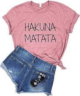 Hakuna Matata Letter Print T Shirt Women Casual Short Sleep Top Tee