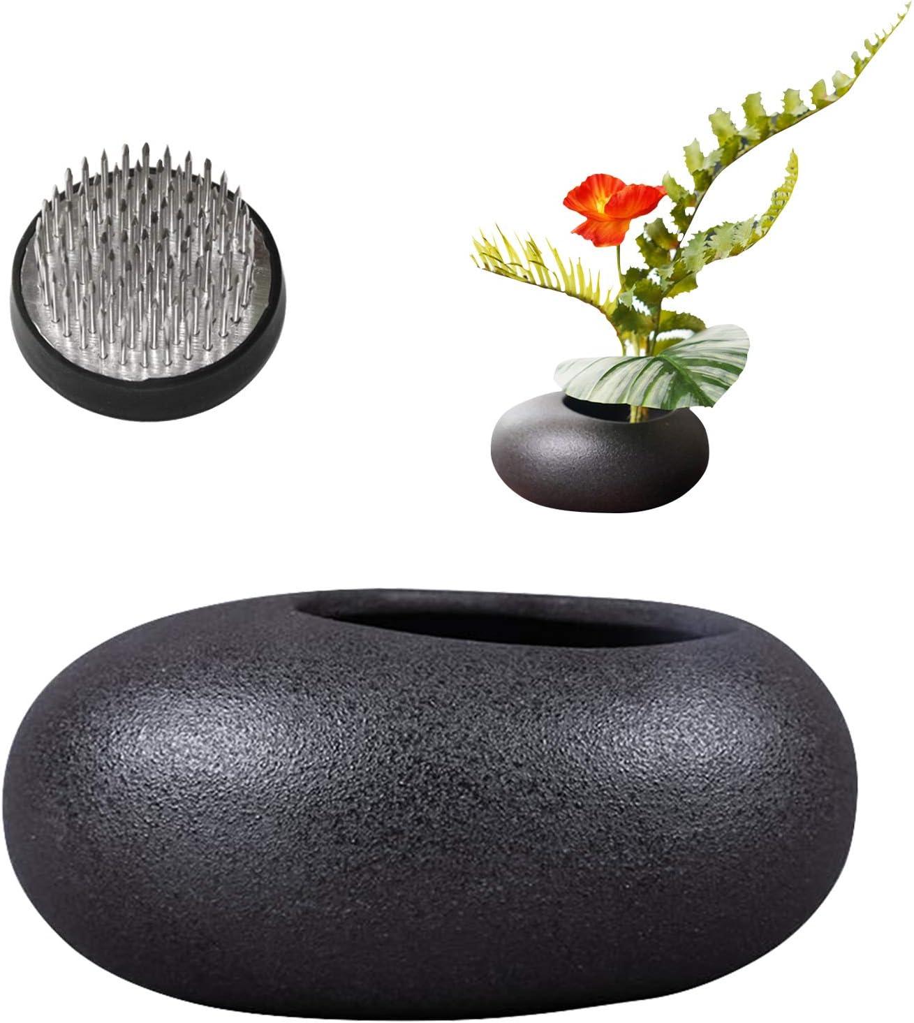 WANDIC Regular dealer Flower Arrangement Ranking TOP16 Kit Black Ceramic Pebble Pot Planter
