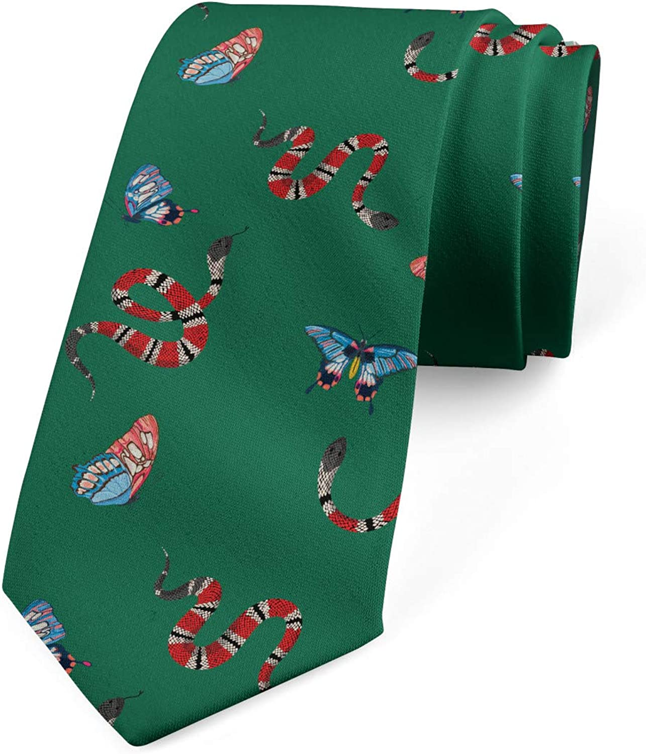 Ambesonne Men's Tie, Fly and Reptile, Necktie, 3.7