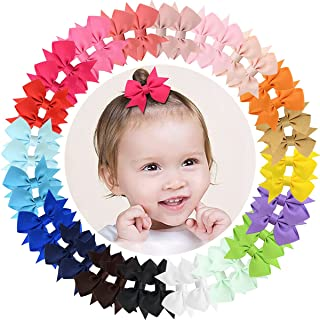 """ALinmo Baby Girls Clips 2"""" Grosgrain Boutique Solid Color Ribbon Mini Hair Bows Clips Fully Lined Baby Hair Clips for Baby..."""