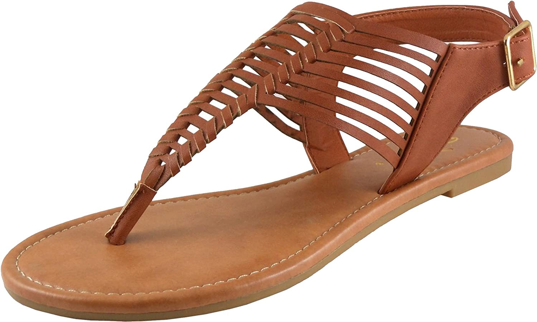 Jynx Women's Woven Whipstitch Thong Flat Sandal