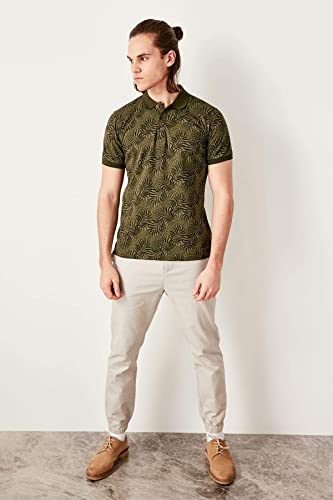LFNANYI Nouvelle Mode Hommes Coton à Manches Courtes Sweat Khaki Pour des hommes Imprimé Slim Fit Polo Neck T Shirt