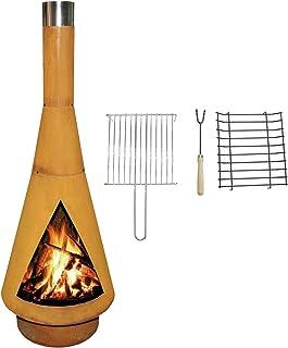 YERD Corten Terrassen-Ofen/Grill-Kamin Denver BBQ: Echter Corten-Stahl Gartenkamin Edelrost, inkl. Grill-Rost L 125cm Corten