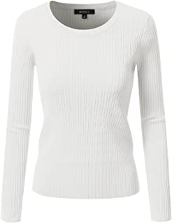Doublju Fitted Crewneck Twisted Cable Knit Sweater For Women