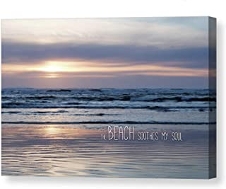 Sponsored Ad - Beach Soothes My Soul Photographic Art Gallery CANVAS Print Sunset Photography Text Optional Pastel Serene ...