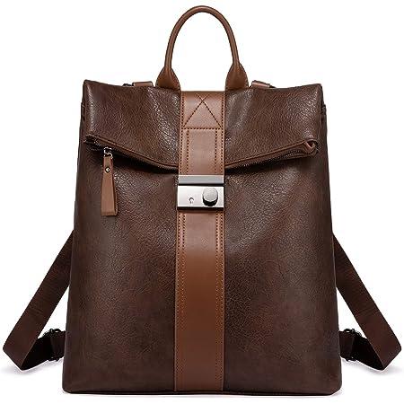 Realer Rucksack Damen Schwarz, Elegant 2 in 1 Rucksack Tasche Groß PU Leder, Diebstahlsicher Wasserdichte Cityrucksack Vintage Backpack für Frauen Mädchen