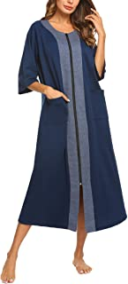 Ekouaer Women Zipper Robe Half Sleeve Loungewear Full Length Nightgown Duster Housecoat with Pockets S-XXL