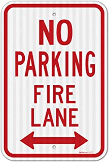 No Parking Sign, Fire Lane Sign, Large 12x18 3M Reflective (EGP) Rust Free .63 Aluminum, Weather/Fade Resistant, Easy Mounting, Indoor/Outdoor Use, Made in USA by SIGO SIGNS