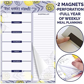 "bloom daily planners Weekly Magnetic Meal Planning Pad for Fridge with Tear-Off Grocery Shopping List - Hanging Food/Menu Organizer Notepad with Magnets - 6"" x 9"" - Lemons"