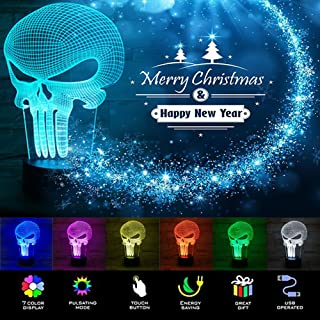 [New ] 3D Night Light- Modern Skull Mood Lamp - 3D Illusion Lamp 7 LED Light Colors Optical Illusion with USB Cable Smart Touch Button Control, Creative Gift Toys Decorations (Skull)