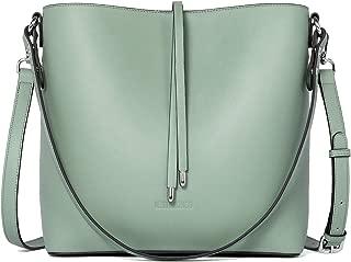 WESTBRONCO Women Leather Handbags Designer Shoulder Tote Purse Casual Hobo Crossbody Bucket Bags (4-Mose Green)