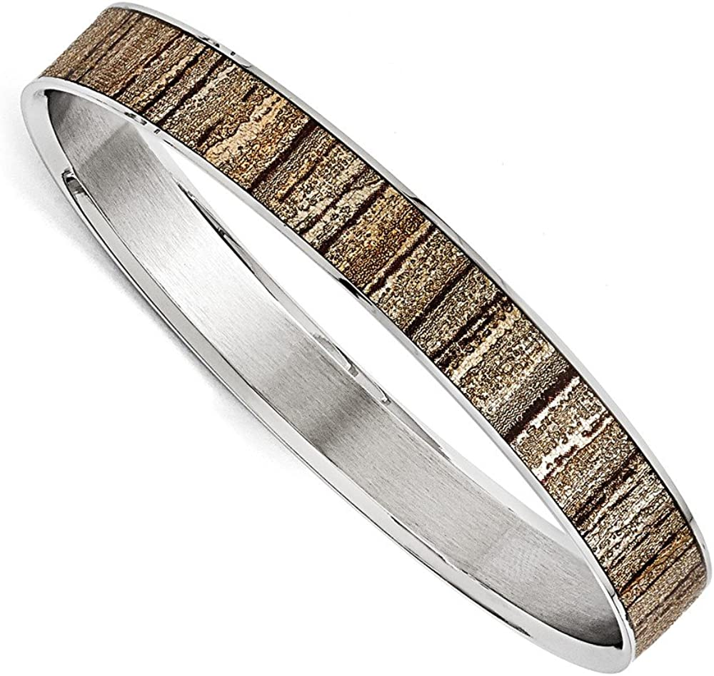 Solid Stainless Steel Cream/Black Enameled Wide Bangle Cuff Bracelet (Width = 10mm)