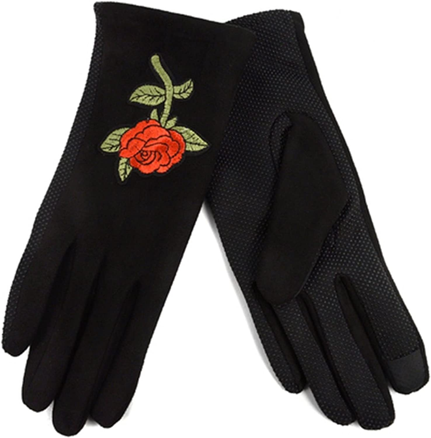Women's Red Rose Embroidered Winter Gloves W Fleece Lining