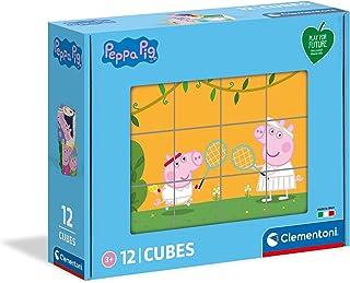 Clementoni Peppa Pig-Puzzle niños de 3 años-Cubos de 12 Piezas-Play For Future-Materiales 100% reciclados-Fabricado en Ita...
