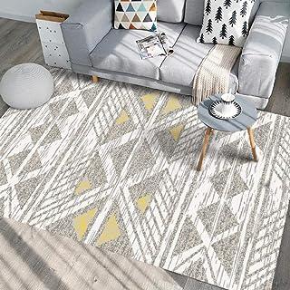 Tapis Chambre Tapis de Salon Style Moderne Géométrie Minimaliste Jaune Tapis de Chambre, Tapis d'intérieur Moelleux 200X30...