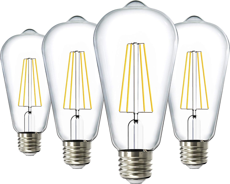 Sunco Lighting Las Vegas Mall 4 Pack Houston Mall ST64 LED 7W=60W Dawn 3000K to Dusk Bulb