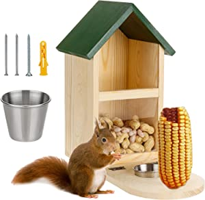 Wooden Squirrel Feeder Box with Cup, Squirrel Feeding House for Outside Hanging On Trees Fences Posts Porch, Durable Feeding Station for Garden Backyard