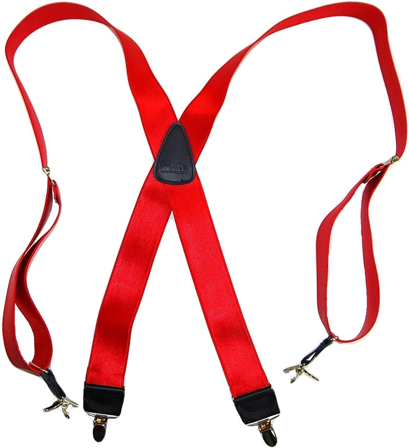 Holdup Brand XL Regal Red Satin Finish X-back Suspender with No-slip Gold-tone Clips