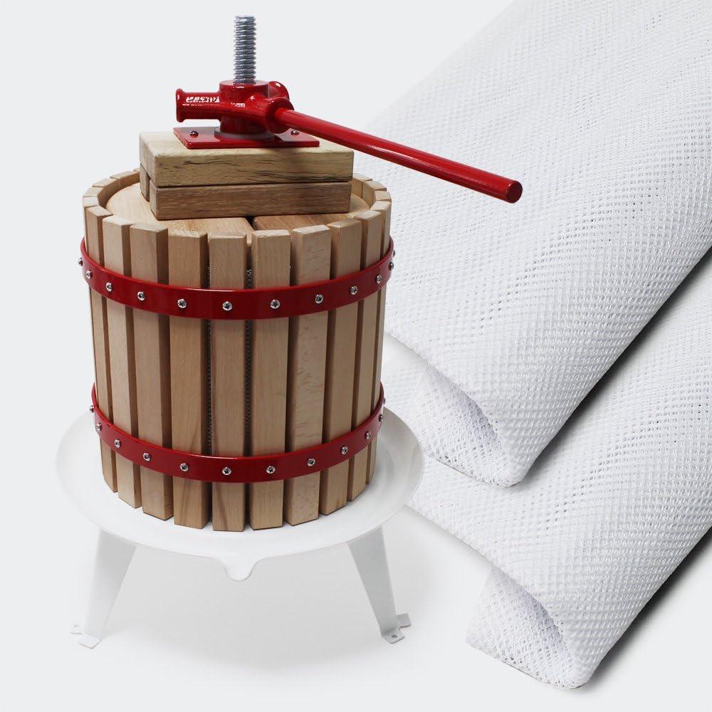 Prensa fruta 12L con 3 paños de prensado Prensa para mosto macerado vino sidra Elaboración bebidas