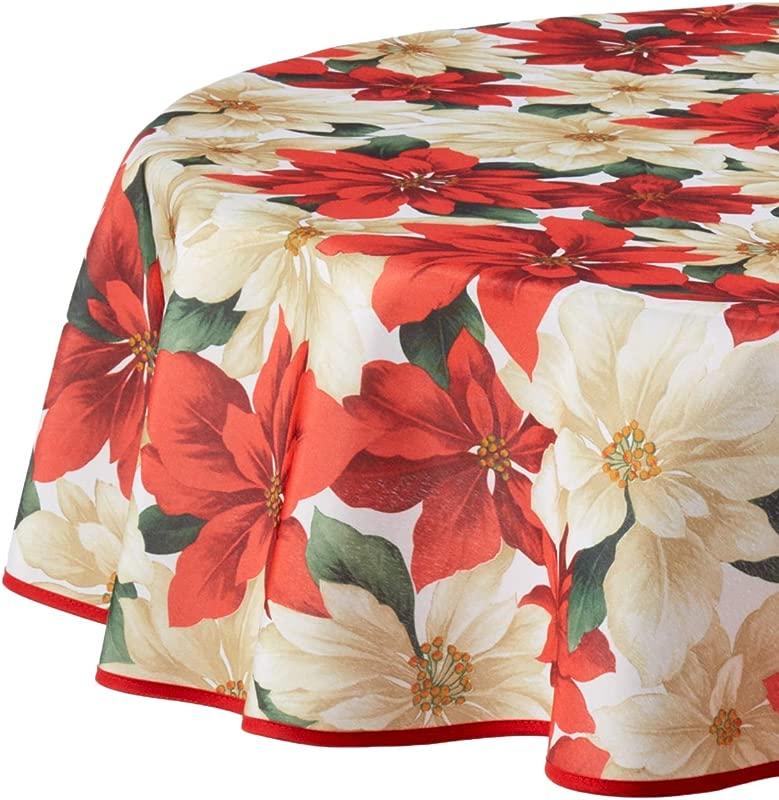 Violet Linen European Christmas Poinsettia Floral Design Printed Tablecloth 60 Round Beige