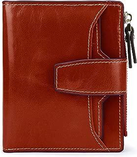 AINIMOER Women's RFID Blocking Leather Small Compact Bi-fold Zipper Pocket Wallet Card Case Purse with id Window (Waxed Sorrel)