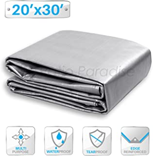 Patio Paradise 20` x 30` General Multi-Purpose Tarpaulin Canopy Tent Shelter Waterproof Cover Weather Resistant Strong Reinforced Silver Poly Tarp